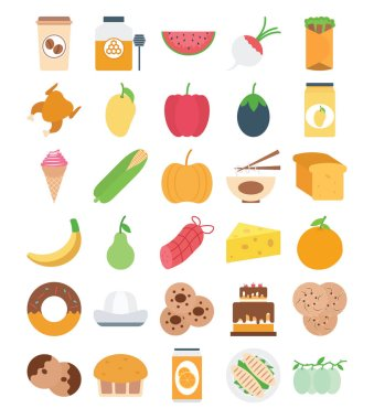 Food, Fruit and Vegetable Color Vector Icons Set that can easily modified or edit