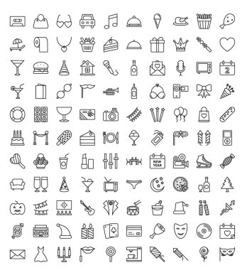 Event Celebration, Party Celebration Vector icons set in Trendy Colors that can be easily modified or edit