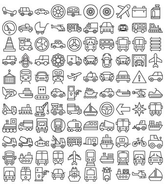 Transport Isolated Vector Icons Set that can be easily modified or edit