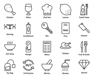 Guest House and Lodge Vector Icons Set that can be easily modified or edit
