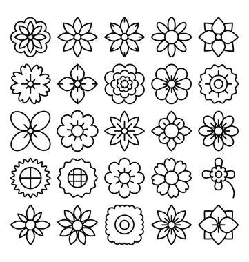 Florals and Flower Vector Icons Set that can be easily modified or edit