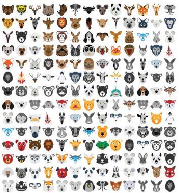 Animal Faces Isolated Vector Illustration that can be easily modified or edit