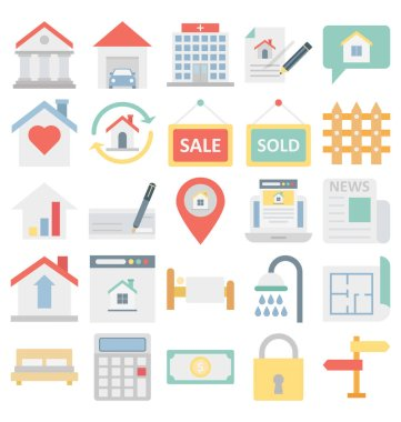 Real Estate Color Vector Isolated Illustration fully editable