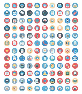 Cloud Computing and Data Storage Color Vector Icons set which can easily modify or edit