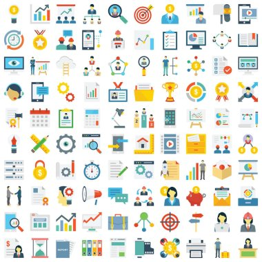 Project Management Colored Vector Icons set every single icons can be easily modified or edit