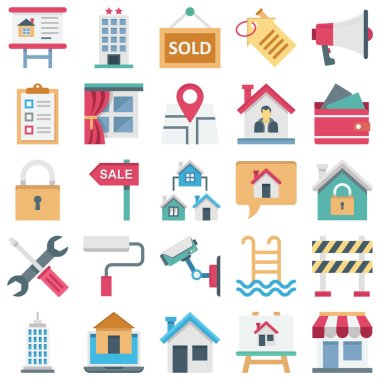 Real Estate Isometric Color Vector icons set every single icon can be easily modified or edited
