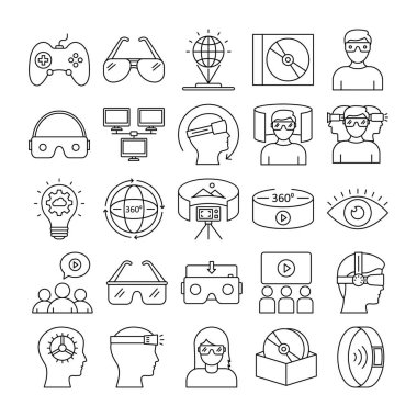 Virtual Reality Vector Icons Set every single icons can be easily modified or edited