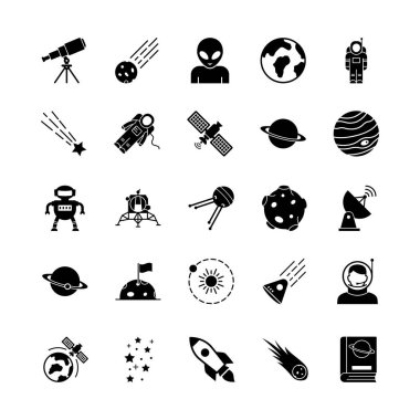 Space and Planets Isolated Vector icons set every single icons can be easily modified or edit this set consist with Collision, comet, Alien, fiction, science, ship, ufo, screen, Communication, radio, tower, Electricity, orientation and planets icons