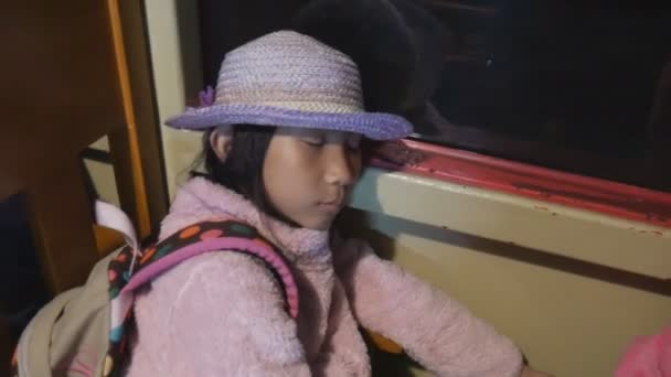 Tried Asian girl sleeping on train while travelling in Japan.