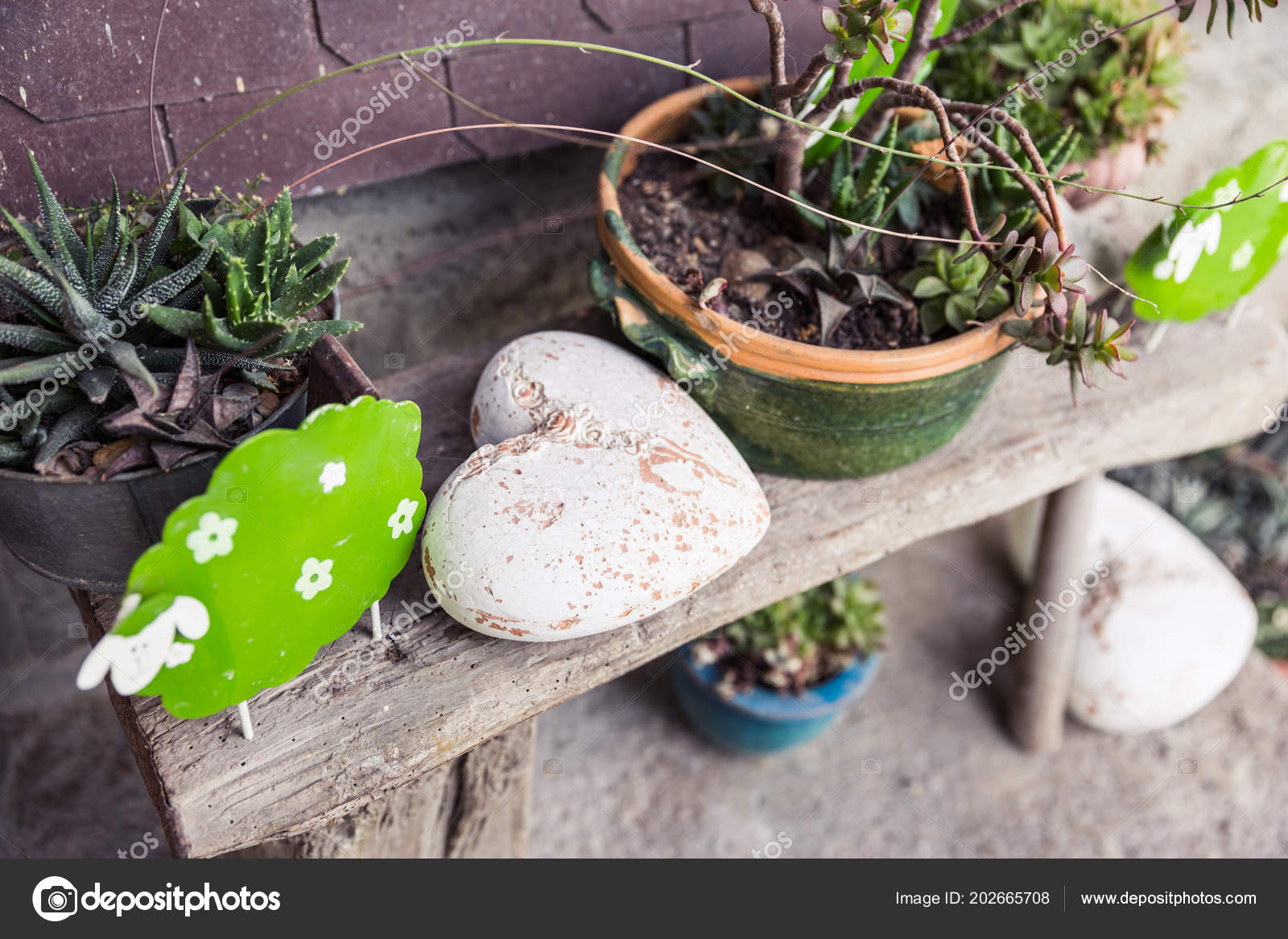 Marvelous Shabby Chic Garden Decorations Wooden Bench Stock Photo Caraccident5 Cool Chair Designs And Ideas Caraccident5Info