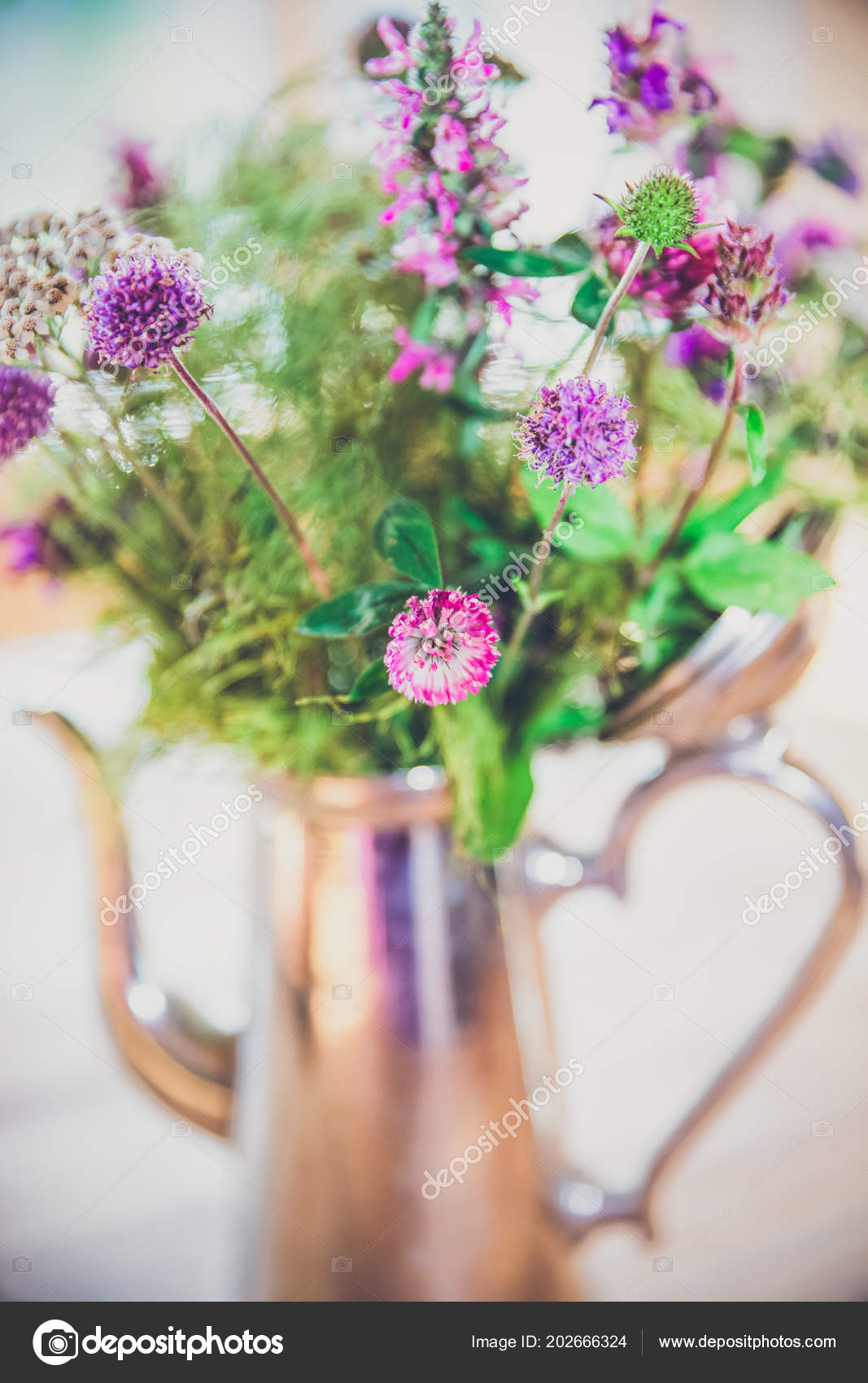 Home made fresh wild flowers bouquet silver pot wood table stock home made fresh wild flowers bouquet silver pot wood table stock photo izmirmasajfo