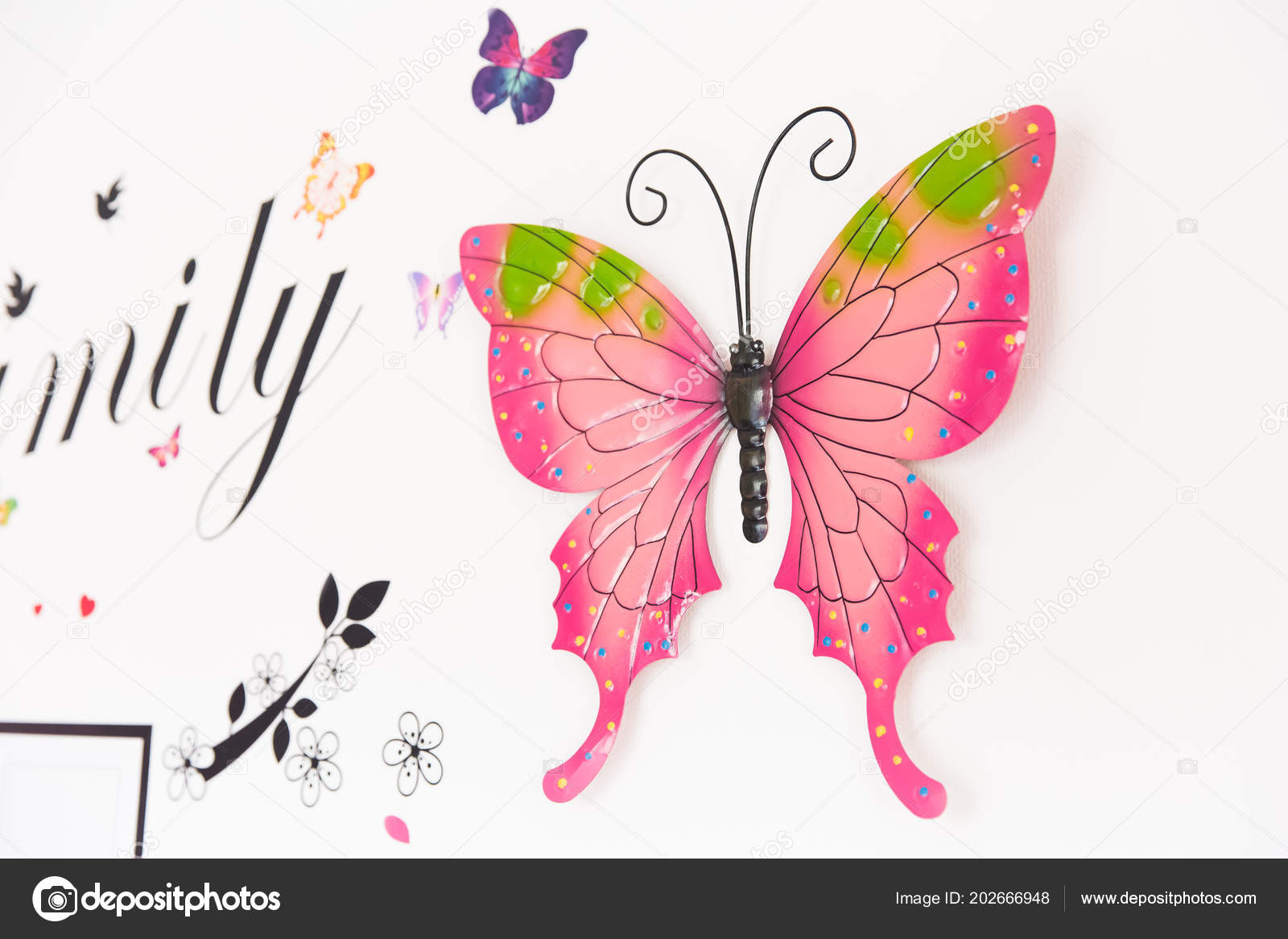 Rosa Mariposa Colgantes Decoración Pared Para Cuarto Niña ...