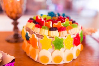Green, Orange, Red and Yellow Jelly Sweets Birthday Cake
