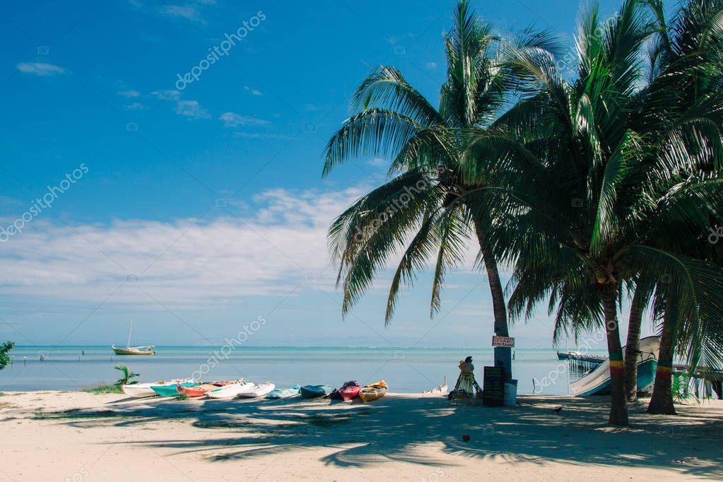 Multicoloured Rental Sea Kayaks on Tropical Beach on a Sunny Day