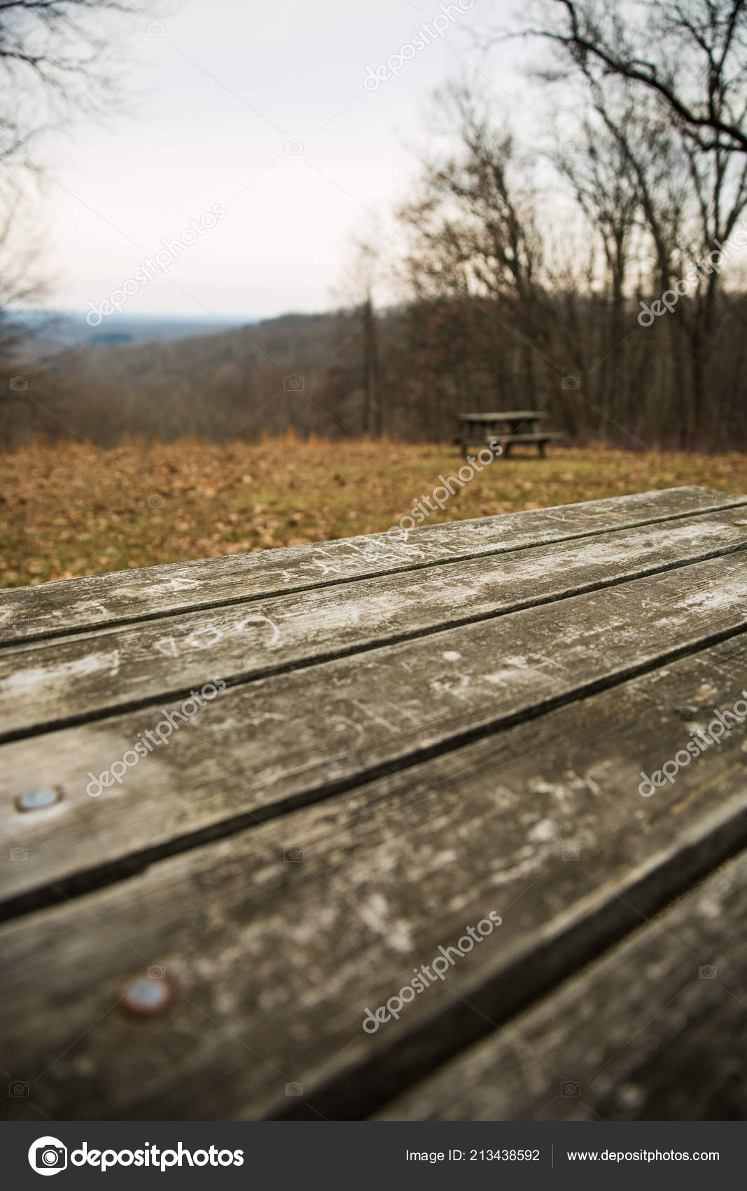 Wooden Picnic Table Park Rolling Hills Grey Winter Day ...