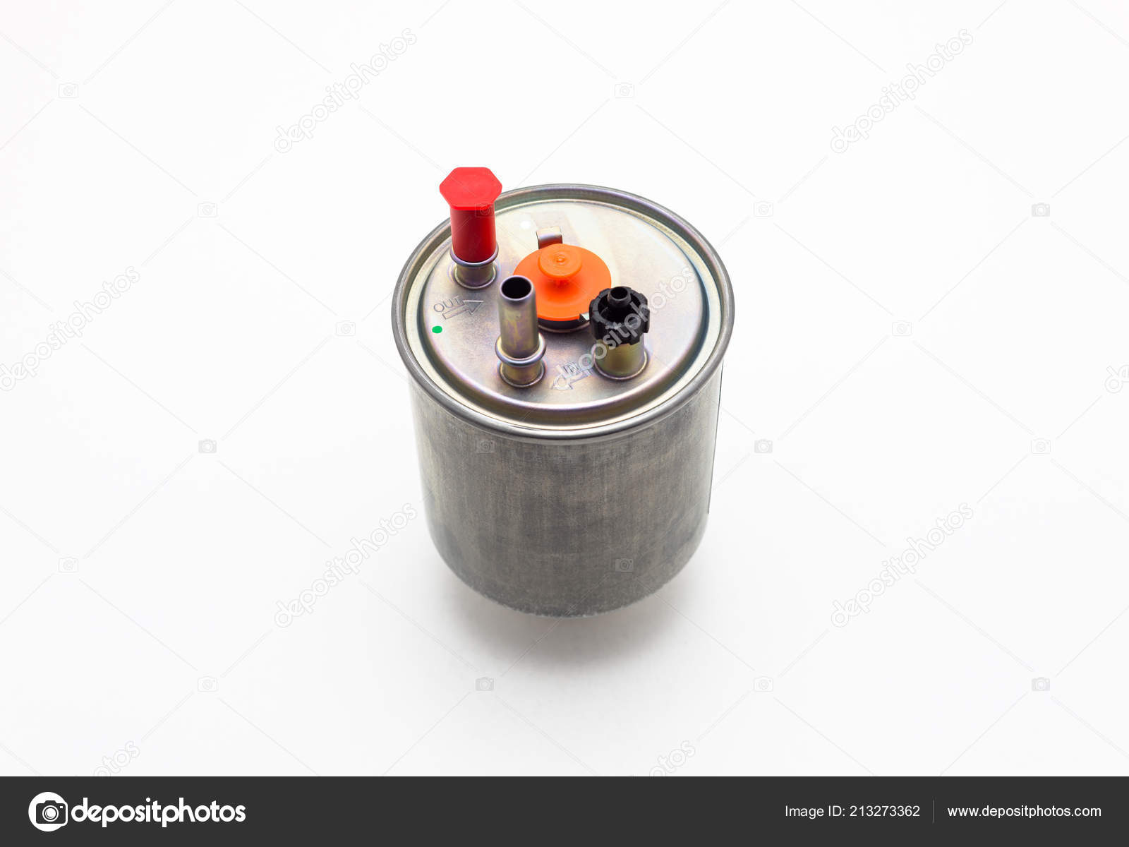 Car Fuel Filter Diesel Engine Isolated White Background Clipping Path