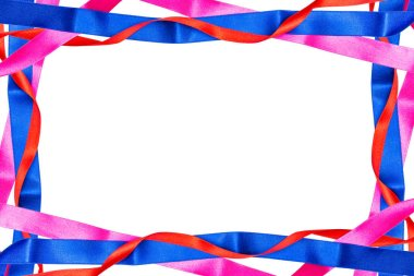 Frame made from red, pink and blue satin ribbons isolated on white background with clipping path and copy space in the middle.