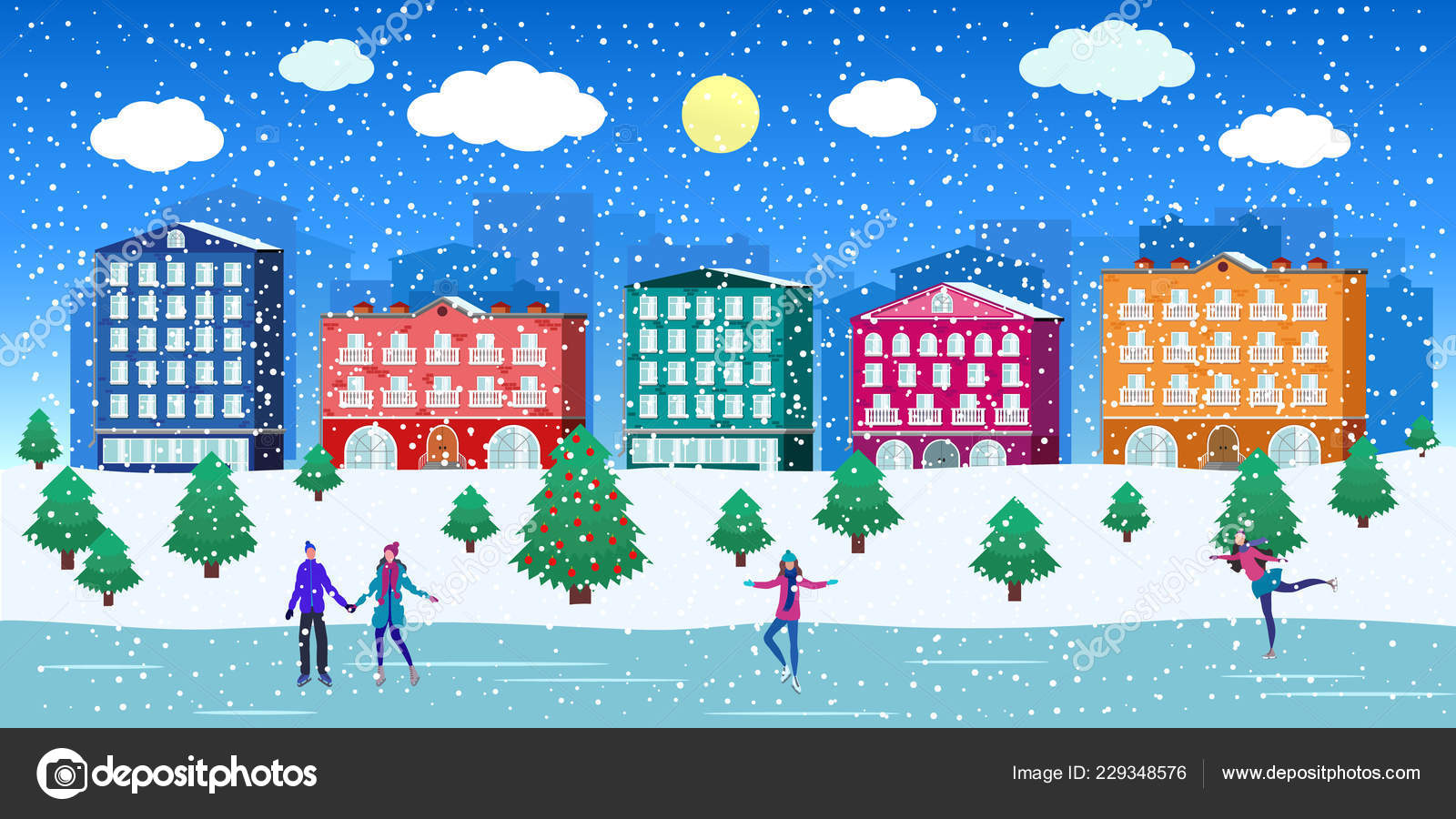 Groovy Winter Street Town Houses And People Snowy Weather Interior Design Ideas Skatsoteloinfo