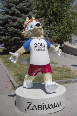 Rostov-on-Don,Russia - June 16,2018: The fan zone of the FIFA World Cup 2018 at the Theater Square. The emblem of the championship is Zabivaka