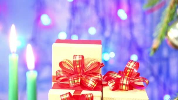 Late Christmas Candles Gifts Red Bows Blurred Blue Background ...