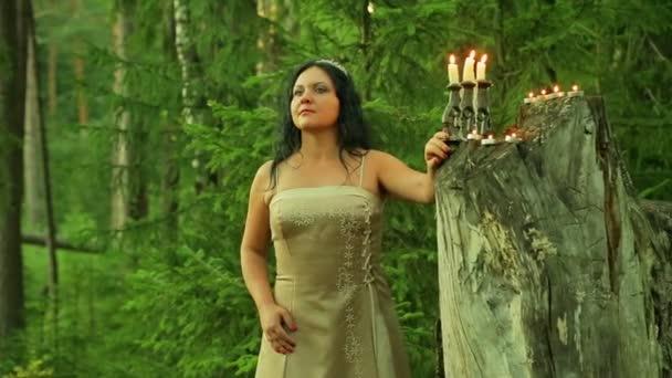 Tajemná víla v lese stojí velký pahýl se svíčkami a rozhlédne