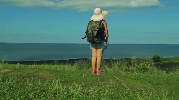 a woman in a straw hat with a backpack behind her back stands at the edge of the mountain and admires the nature