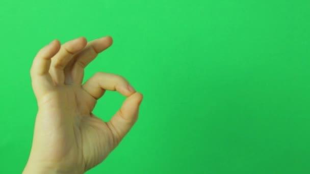 Zöld háttér show női kéz gesztus ok