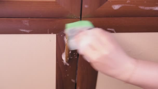 Samice ruční houby s čisticím prostředkem myje kuchyňský nábytek