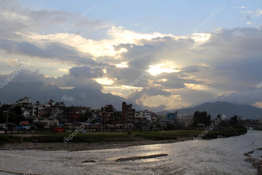 The lazy afternoon and beautiful sunset in Kathmandu city. Taken in Nepal, August 2018.