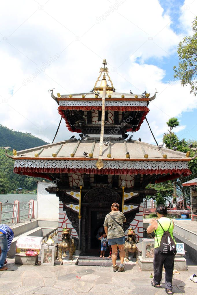The Tal Barahi Nepali Budhdist temple by the middle of Phewa Lake in Pokhara. Taken in Nepal, August 2018.