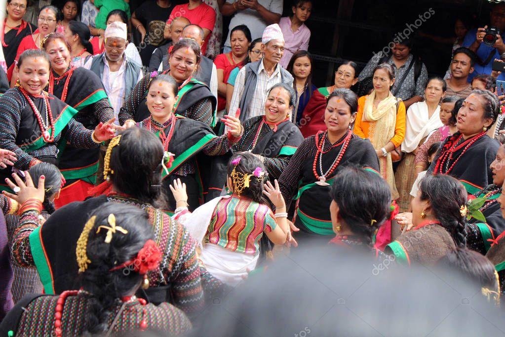 Local Nepali people are having dance festivals around Bhaktapur Durbar Square. Taken in Nepal, August 2018.