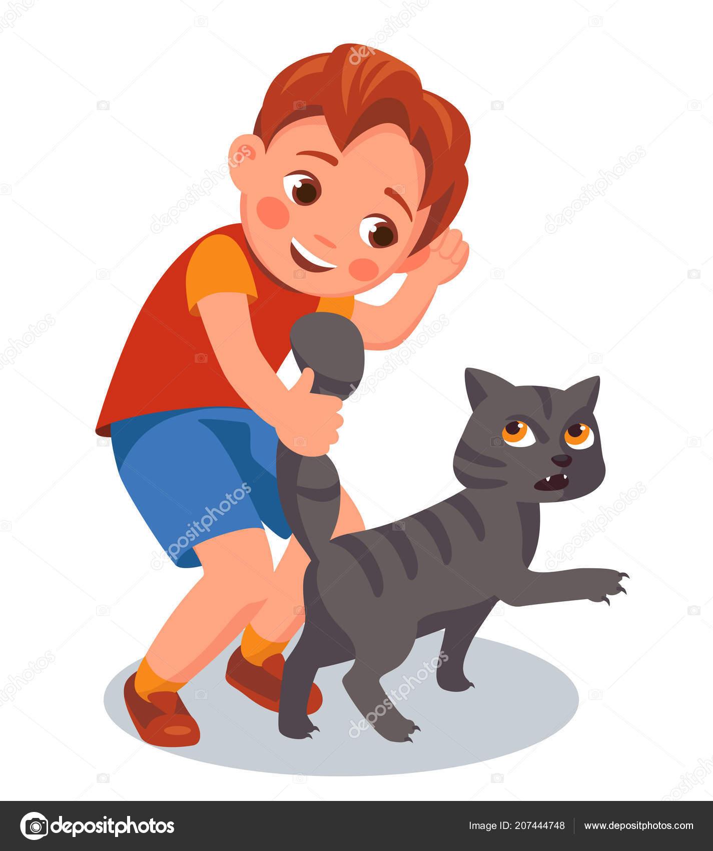 Chico Tira Cola Gato Maltrato Animal Vector Ilustración