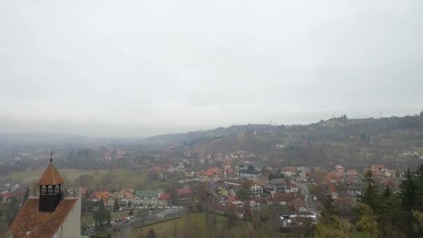 Film shot over Bran Castle in Transylvania (Romania) Draculas castle