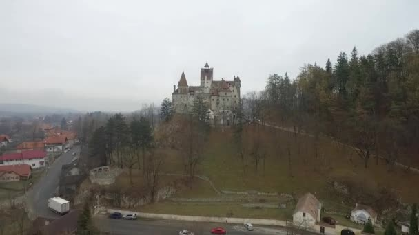 Film shot over Bran Castle in Transylvania (Romania) Draculas castle
