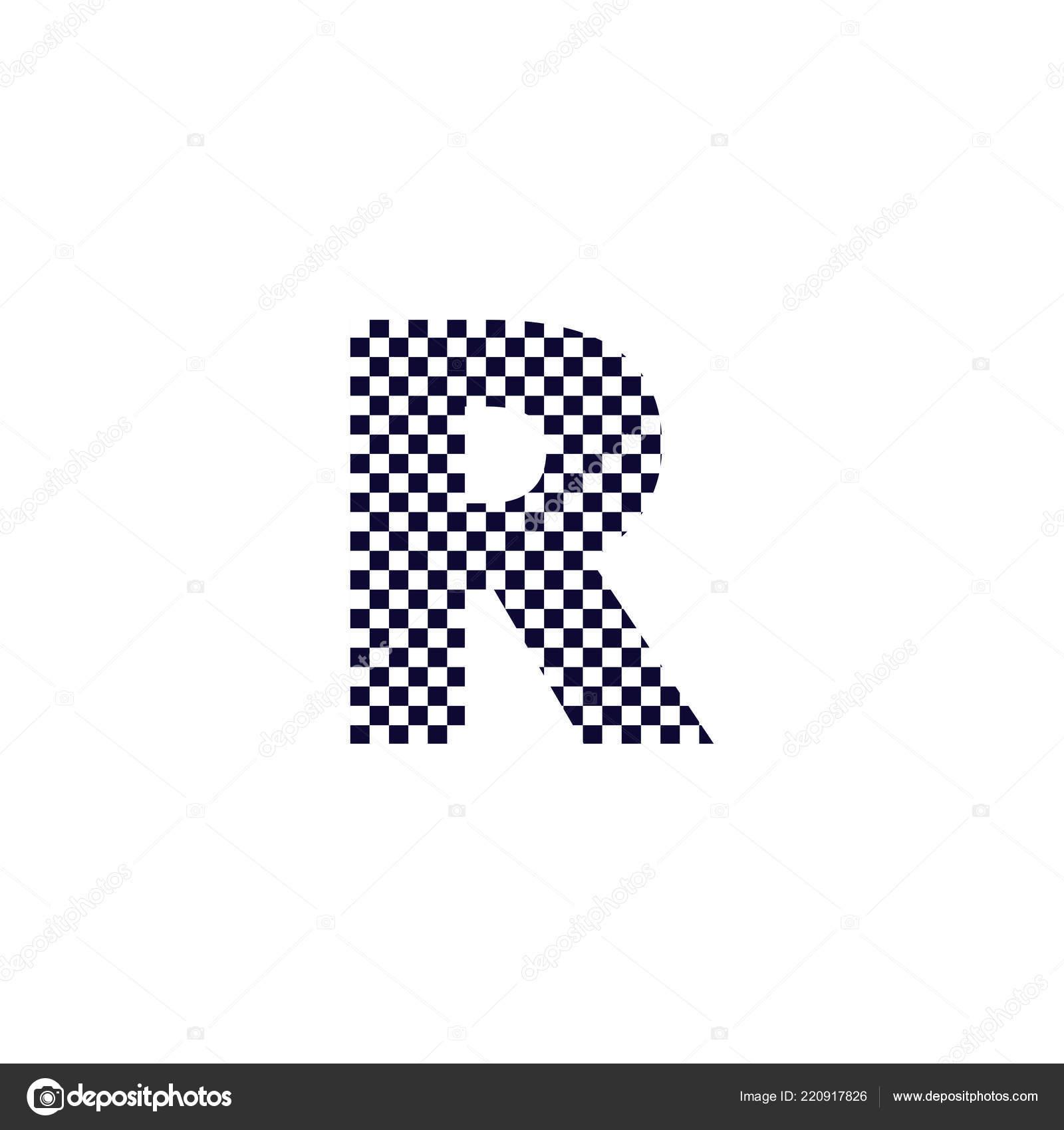 Checker Muster Brief Logo Design Schwarz Weiß Kariert Logo Brief