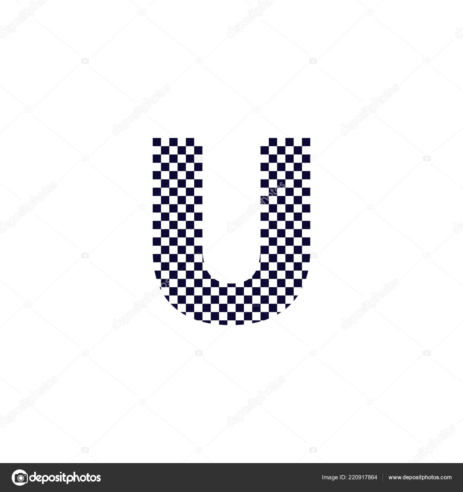 Checker Pattern Letter Logo Design Black White Checkered Logo Letter