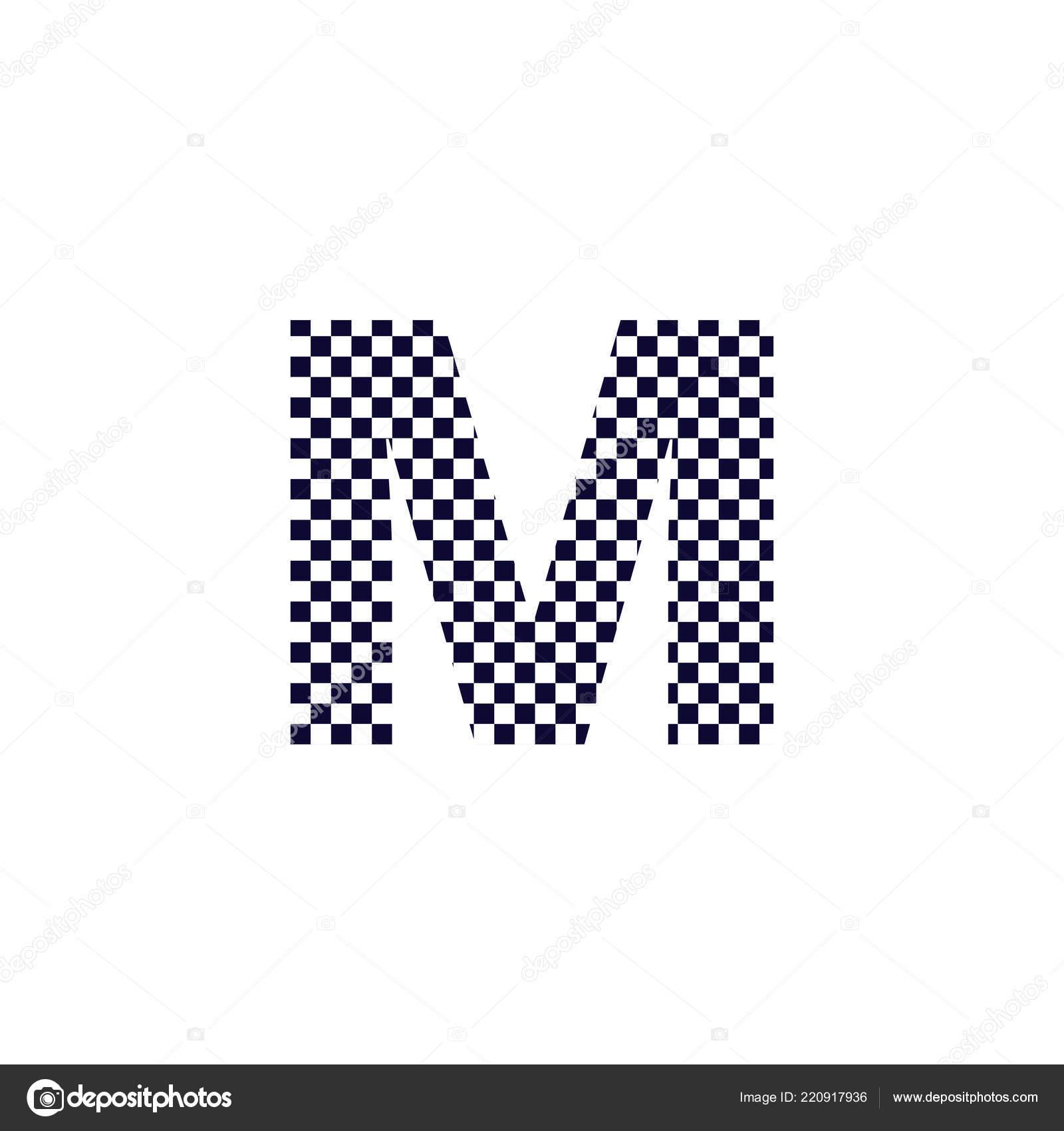 6347968f1b5f Diseño de Logo del letra M inspector patrón. Blanco y negro a cuadros carta  icono Vector logos — Vector de stockvector@outlook.com