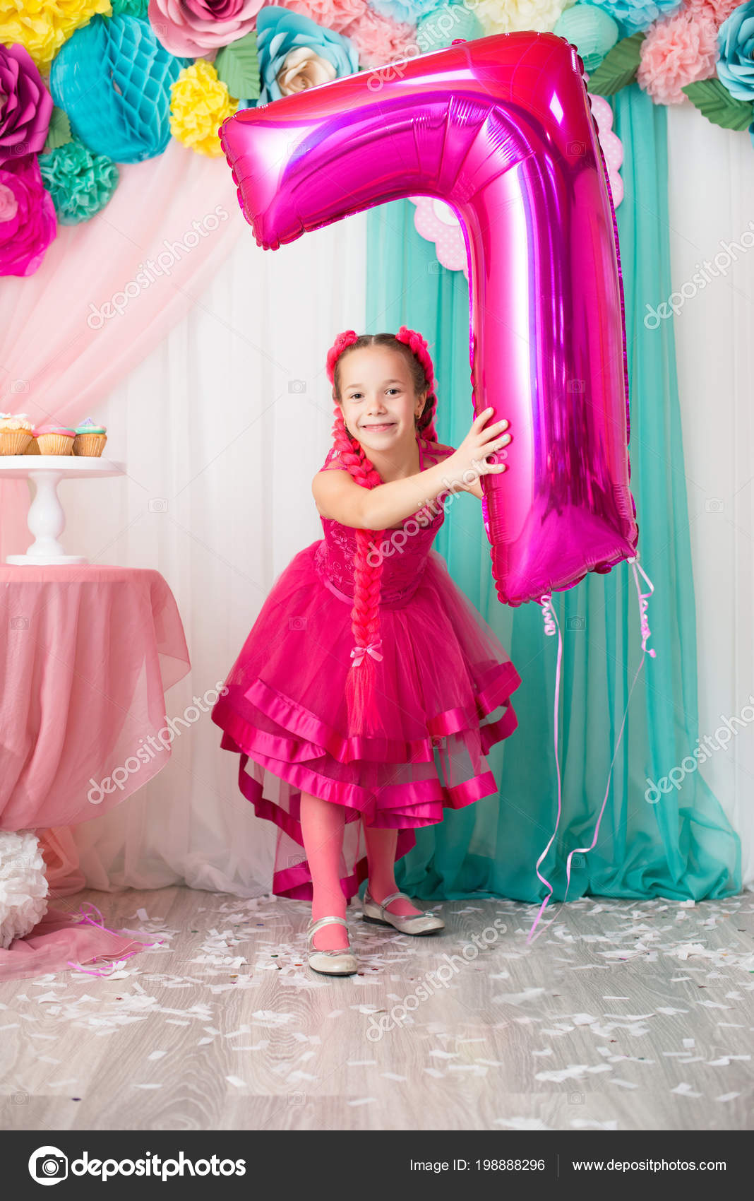 Beautiful Young Girl Celebrating Her Birthday Keeps Balloons Hands Stock Photo