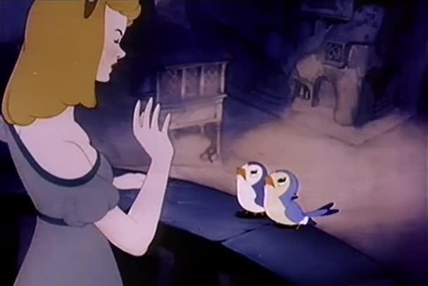 Kreslený ptáci sledování ženy slzy padat, roce 1930
