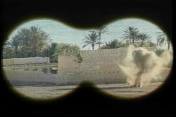Point of view through binoculars of blast by fort, 1970s