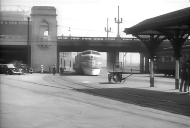 Train arriving at La Grande Station, downtown Los Angeles, 1930s