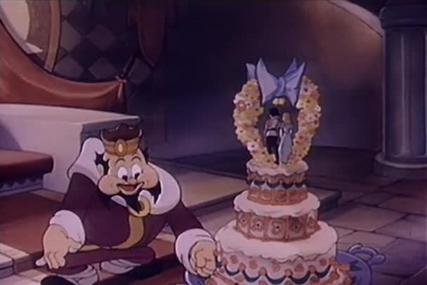 Kreslený krále vzorkování svatební dort, v roce 1930