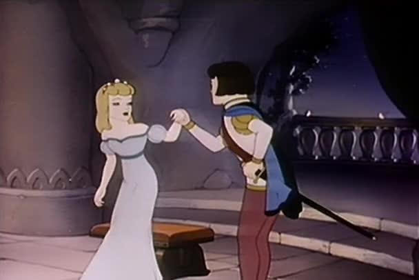 Karikatur von Prinz und Prinzessin, die sich im Palast umarmen, 1930er Jahre