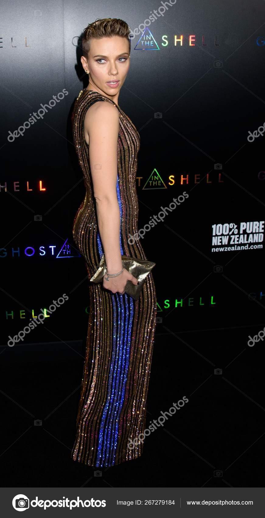 Scarlett Johansson Wearing Balmain Dress Arrivals Ghost Shell Premiere Amc Stock Editorial Photo C Everett225 267279184