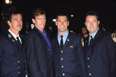 Denis Leary and NYC firefighters at DENIS LEARY FIREFIGHTERS FOUNDATION BENEFIT, NY 10/15/2001, by CJ Contino