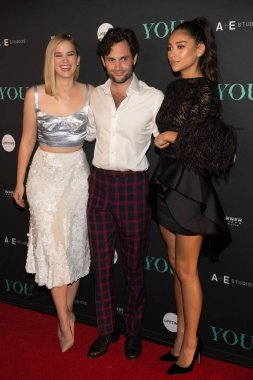 Elizabeth Lail, Penn Badgley, Shay Mitchell at arrivals for YOU Premiere on Lifetime, Zengo, New York, NY September 6, 2018. Photo By: Jason Smith/Everett Collection