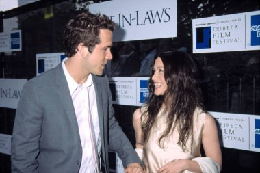 Ryan Reynolds and Alanis Morrisette at Tribeca Film Festival premiere of THE IN-LAWS, NY