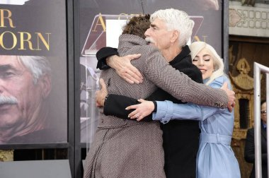 Bradley Cooper, Sam Elliott, Lady Gaga at the induction ceremony for Sam Elliott Handprint & Footprint Ceremony, TCL Chinese Theatre (formerly Grauman''s), Los Angeles, CA January 7, 2019. Photo By: Michael Germana/Everett Collection