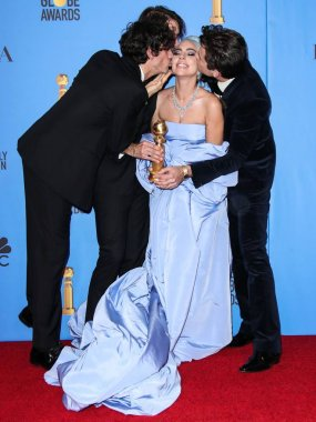 BEVERLY HILLS, LOS ANGELES, CA, USA - JANUARY 06: Anthony Rossomando, Andrew Wyatt, Lady Gaga (Stefani Joanne Angelina Germanotta) and Mark Ronson pose in the press room at the 76th Annual Golden Globe Awards held at The Beverly Hilton Hotel