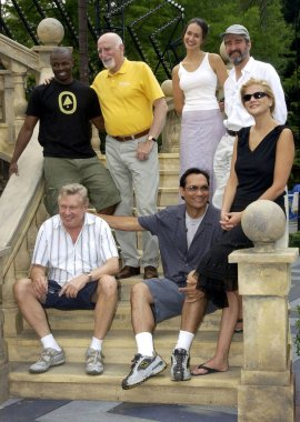 Sean Patrick Thomas, Dominic Chianese, Elizabeth Waterston, Sam Waterston, Brian Murray, Jimmy Smits, and Kristen Johnston of MUCH ADO ABOUT NOTHING at the opening rehearsals on June 30 at the Delacorte theater in Central park in New York.(Photo by B